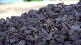 Granite gravel heap, Small pebble. A lot of small stones. stock footage