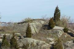 Rocky island in New Bedford harbor. Granite hillside with scrub cedars on Palmer Island in New Bedford harbor Stock Photo