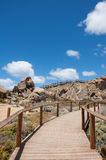Granite Island Walkway. Wooden walkway on Granite Island in South Australia. A poular visitor attraction on the southern coast ofthe fleurieu peninsula stock photography