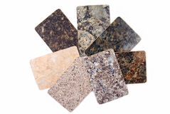 Granite kitchen worktop samples isolated Stock Photo