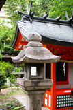 Granite lantern. Detail of japanese stone lantern in the  temple Stock Photo