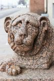 Granite lion on English Embankment. One of two granite lions at the entrance to the building of the Constitutional Court of the Russian Federation on English royalty free stock photos