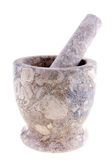 Granite mortar and pestle. On white background Royalty Free Stock Photo