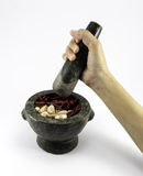 Granite Mortar and Pestle isolated on white background Stock Photo