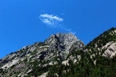 Granite mountain covered by pine trees Stock Photography