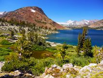Yosemite National Park, Saddlebag Lake. Granite mountains and the deep blue waters of the Saddlebag Lake - The High Country of Yosemite National Park Stock Images