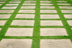 Granite pathway on green grass Royalty Free Stock Images
