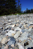 Granite pebbles form the beach. At the Seawall  Maine,Mount Desert Island, Acadia National Park Royalty Free Stock Photos