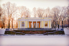 Granite pier and pavilion on the bank of the Moika River in the. Mikhailovsky Garden in winter. Saint-Petersburg Royalty Free Stock Images