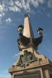 Granite pillar and sky stock images