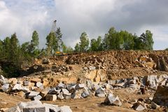 Granite quarry mining Royalty Free Stock Images