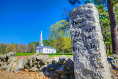 Granite Road Marker Near Martha Mary Chapel In Sudbury, Massachu Stock Image