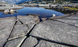 Granite rock and water in norway Stock Photography