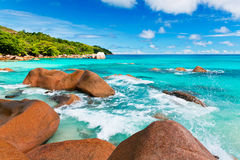 Granite rocks on Anse Lazio beach. The Seychelles Stock Photo