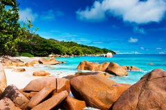 Granite rocks on Anse Lazio beach. The Seychelles Stock Photography