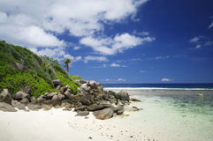 Granite rocks at the beach of Anse Forbans, Seychelles Stock Image
