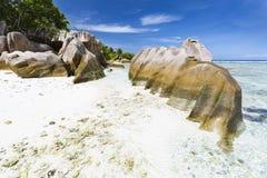 Granite Rocks And Beach, La Digue, Seychelles Royalty Free Stock Photos