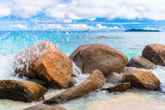 Granite rocks on the beach. The Seychelles Royalty Free Stock Image