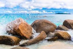 Granite rocks on the beach. The Seychelles Royalty Free Stock Image