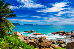 Granite rocks on the beach. The Seychelles Royalty Free Stock Photography