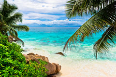Granite rocks on the beach. The Seychelles Royalty Free Stock Photo