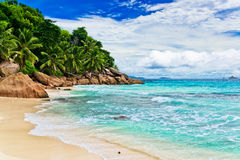 Granite rocks on the beach. The Seychelles Stock Photo