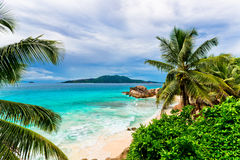 Granite rocks on the beach. The Seychelles Stock Image
