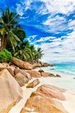Granite rocks on the beach. The Seychelles Stock Image
