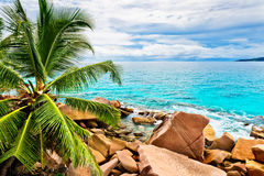 Granite rocks on the beach. The Seychelles Stock Photos