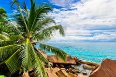 Granite rocks on the beach. The Seychelles Stock Photos