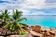 Granite rocks on the beach. The Seychelles Royalty Free Stock Photo