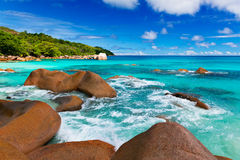 Granite rocks on the beach. The Seychelles Stock Images