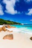 Granite rocks on the beach. The Seychelles Stock Photo