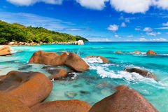 Granite rocks on the beach. The Seychelles Royalty Free Stock Images