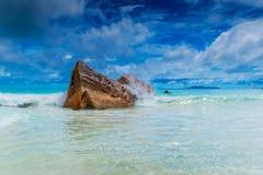 Granite rocks on the beach. The Seychelles Stock Photography