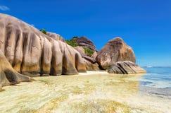 Granite rocks on island La Digue in Seychelles Stock Photography