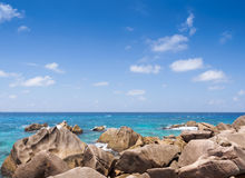 Granite rocks on ocean shore, Seychelles islands Royalty Free Stock Photo