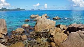 Granite rocks onla digue Stock Photo