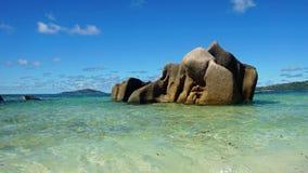 Granite rocks onla digue Royalty Free Stock Photo