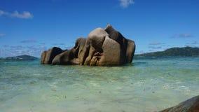 Granite rocks onla digue Royalty Free Stock Image
