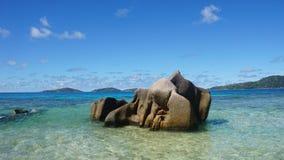 Granite rocks onla digue Stock Image