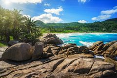 Granite Rocks,palms,wild paradise tropical beach,police bay, seychelles 10. Big granite rocks, palm trees, turquoise water of the indian ocean, white sand at royalty free stock photography