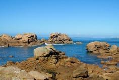 Granite rocks at seaside stock photos