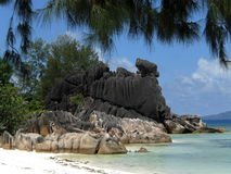 Granite rocks, Seychelles. Granite rocks in the water, Seychelles Stock Images