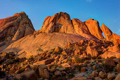 Granite rocks at spitzkoppe. Sunset amongst the rocks at Spitzkoppe - Namibia stock photography