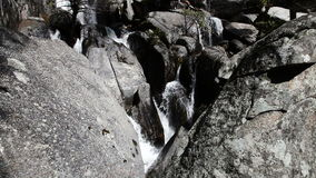 Granite Rocks With Water Cascading Down Yosemite Park California stock video