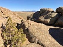 Granite rocks. Weathered granite boulders in Wyoming desert of America stock images