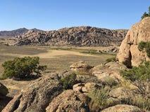 Granite rocks. Weathered granite boulders in Wyoming desert of America stock photos