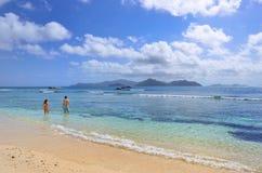 Granite rocky beaches on Seychelles islands, La Digue, Anse Seve Royalty Free Stock Photo
