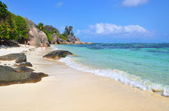 Granite rocky beaches on Seychelles islands, La Digue, Source D Stock Photos